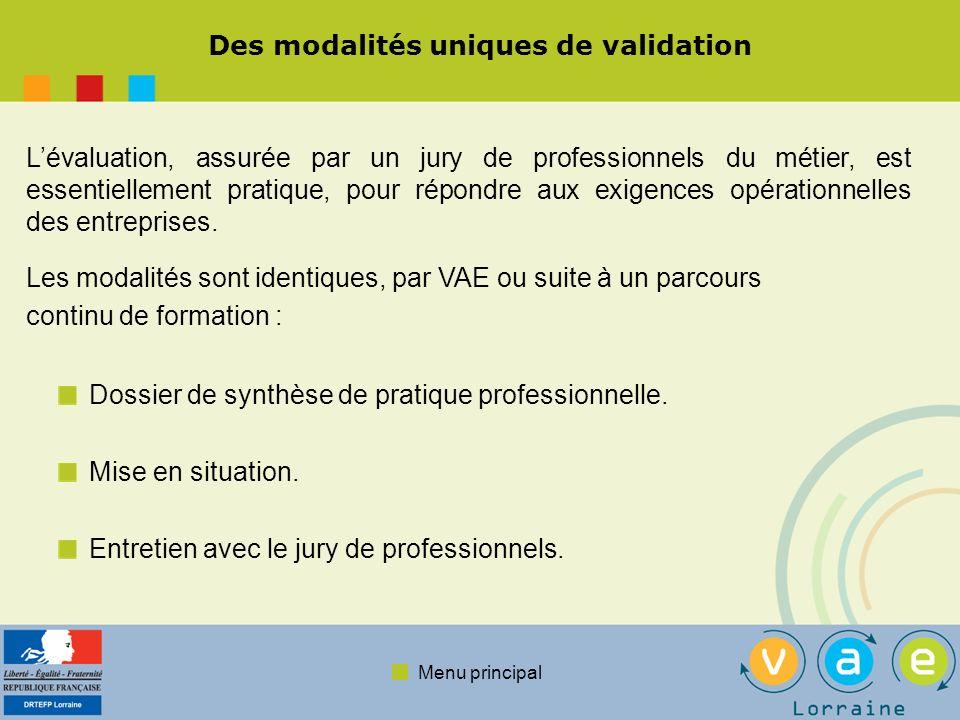 Menu principal Des modalités uniques de validation Dossier de synthèse de pratique professionnelle.