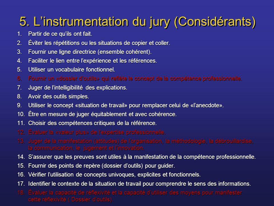 5. Linstrumentation du jury (Considérants) 1.Partir de ce quils ont fait. 2.Éviter les répétitions ou les situations de copier et coller. 3.Fournir un