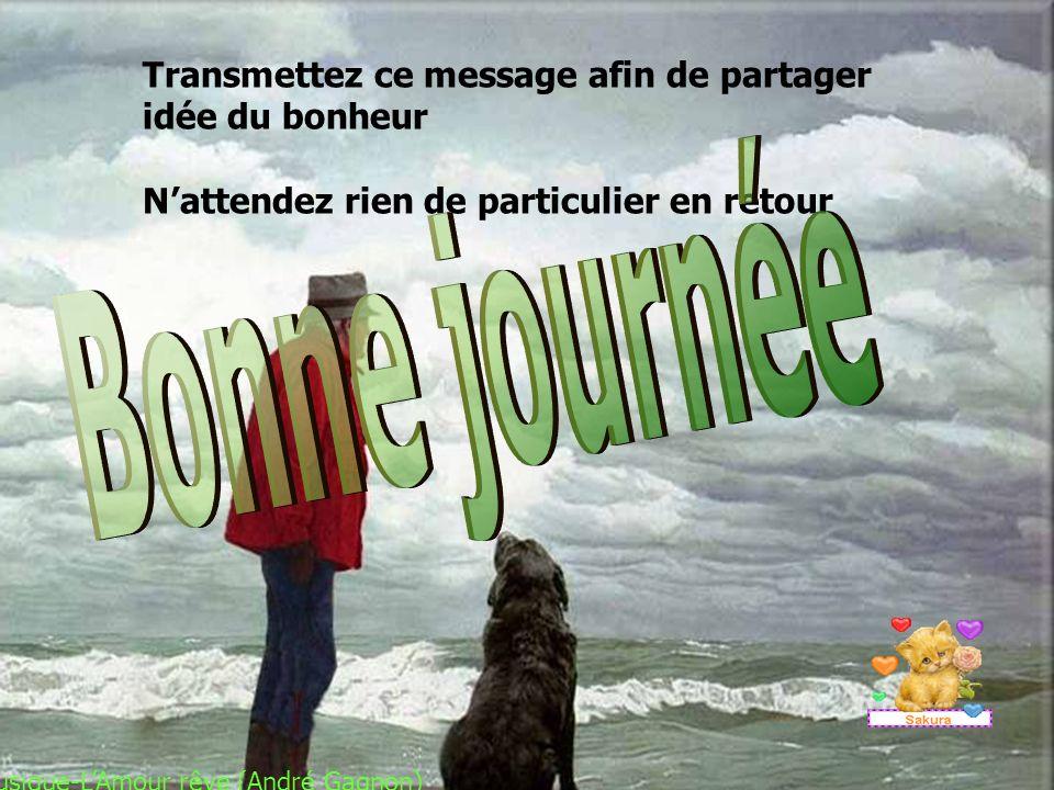 Transmettez ce message afin de partager idée du bonheur Nattendez rien de particulier en retour Musique-LAmour rêve (André Gagnon)