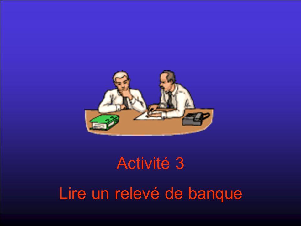 Activité 3 Lire un relevé de banque