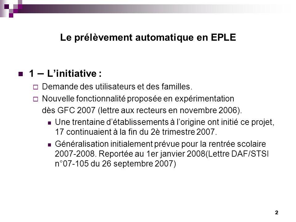 2 1 – Linitiative : Demande des utilisateurs et des familles. Nouvelle fonctionnalité proposée en expérimentation dès GFC 2007 (lettre aux recteurs en