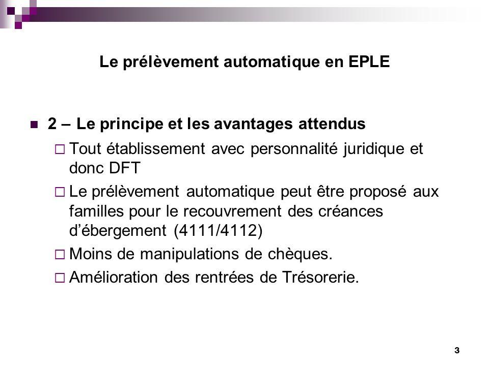 3 Le prélèvement automatique en EPLE 2 – Le principe et les avantages attendus Tout établissement avec personnalité juridique et donc DFT Le prélèveme