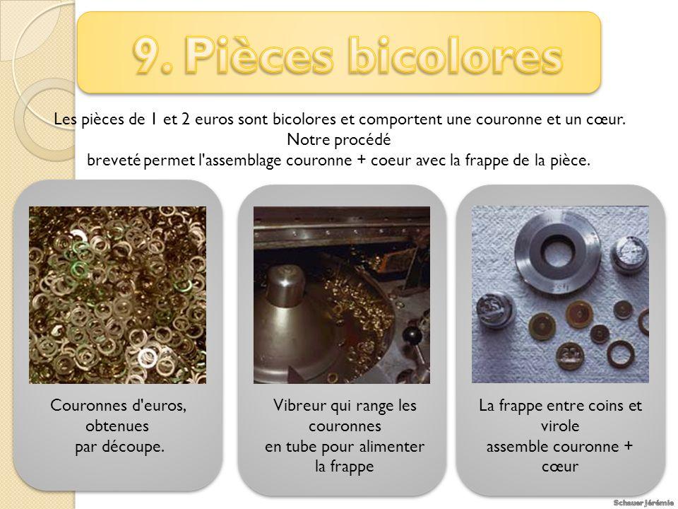 Les pièces de 1 et 2 euros sont bicolores et comportent une couronne et un cœur.