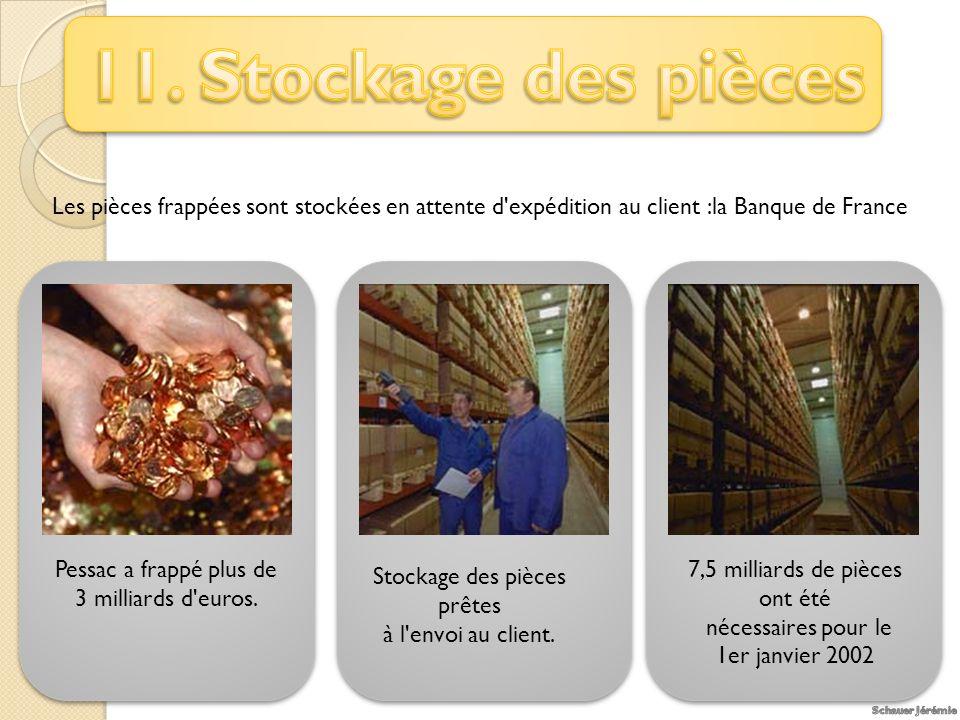 Les pièces frappées sont stockées en attente d expédition au client :la Banque de France Pessac a frappé plus de 3 milliards d euros.