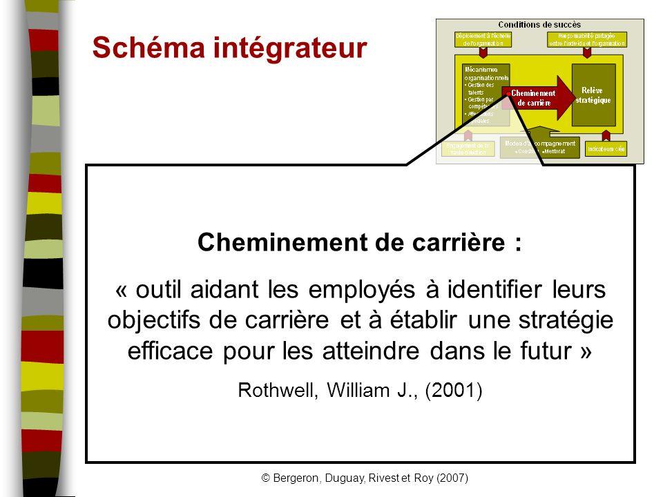 © Bergeron, Duguay, Rivest et Roy (2007) Recommandations Globalement: Déploiement organisationnel Responsabilité partagée Plus spécifiquement: Coaching et mentorat Affectations spéciales