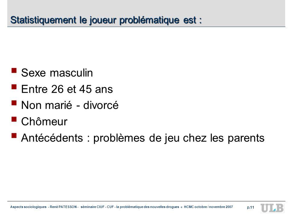 Aspects sociologiques - René PATESSON - séminaire CIUF - CUF - la problématique des nouvelles drogues « HCMC octobre / novembre 2007 p.11 Statistiquem