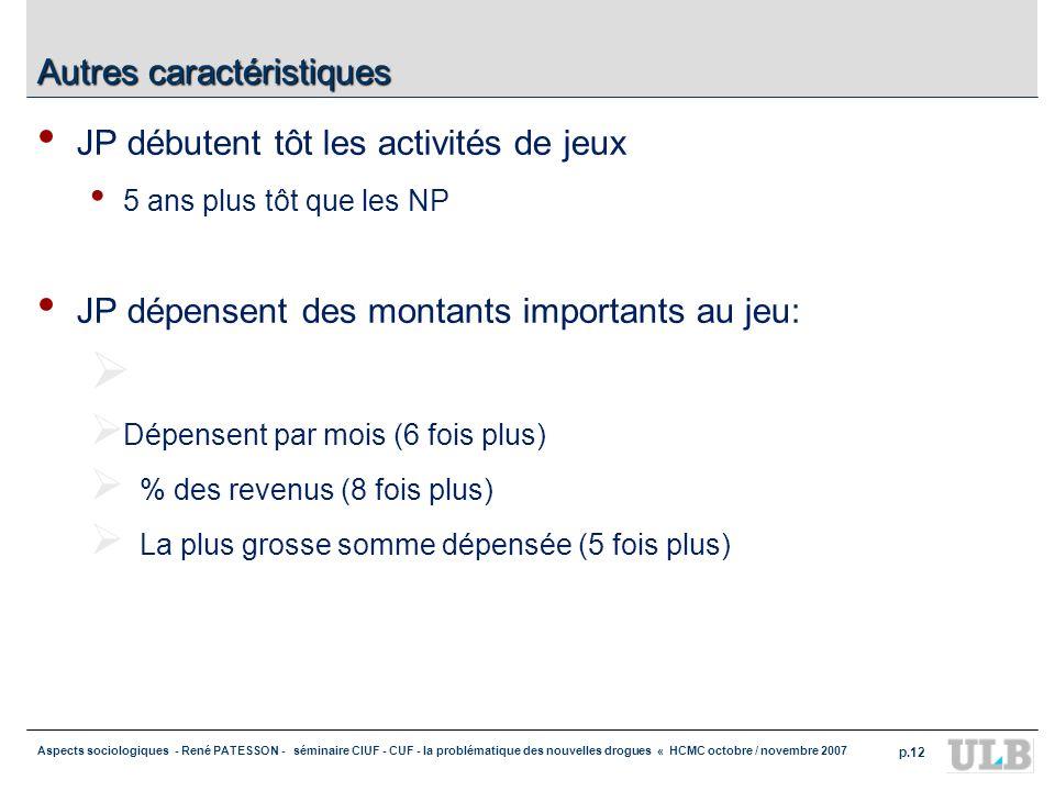 Aspects sociologiques - René PATESSON - séminaire CIUF - CUF - la problématique des nouvelles drogues « HCMC octobre / novembre 2007 p.12 Autres carac
