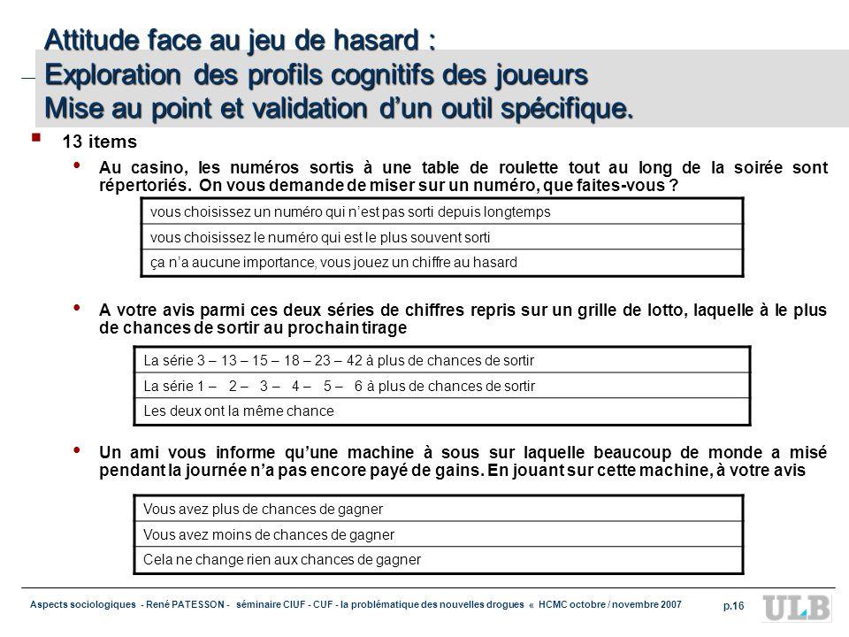 Aspects sociologiques - René PATESSON - séminaire CIUF - CUF - la problématique des nouvelles drogues « HCMC octobre / novembre 2007 p.16 Attitude fac