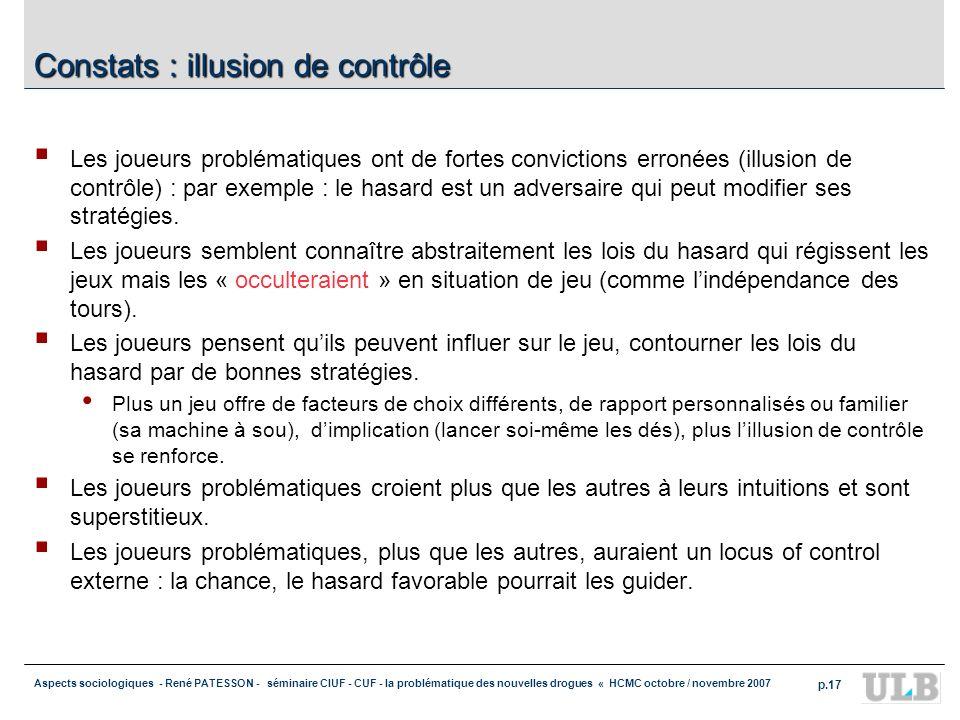 Aspects sociologiques - René PATESSON - séminaire CIUF - CUF - la problématique des nouvelles drogues « HCMC octobre / novembre 2007 p.17 Constats : i