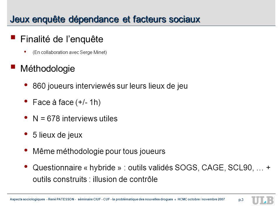 Aspects sociologiques - René PATESSON - séminaire CIUF - CUF - la problématique des nouvelles drogues « HCMC octobre / novembre 2007 p.3 Jeux enquête