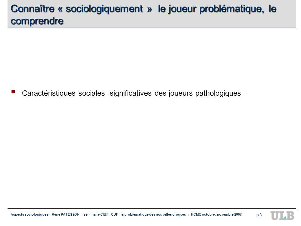 Aspects sociologiques - René PATESSON - séminaire CIUF - CUF - la problématique des nouvelles drogues « HCMC octobre / novembre 2007 p.8 Connaître « s