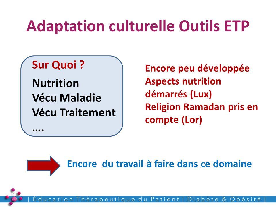 Adaptation culturelle Outils ETP 16 Sur Quoi ? Nutrition Vécu Maladie Vécu Traitement …. Encore peu développée Aspects nutrition démarrés (Lux) Religi