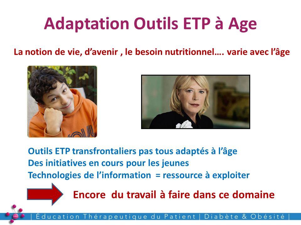 Adaptation Outils ETP à Age 17 La notion de vie, davenir, le besoin nutritionnel…. varie avec lâge Outils ETP transfrontaliers pas tous adaptés à lâge