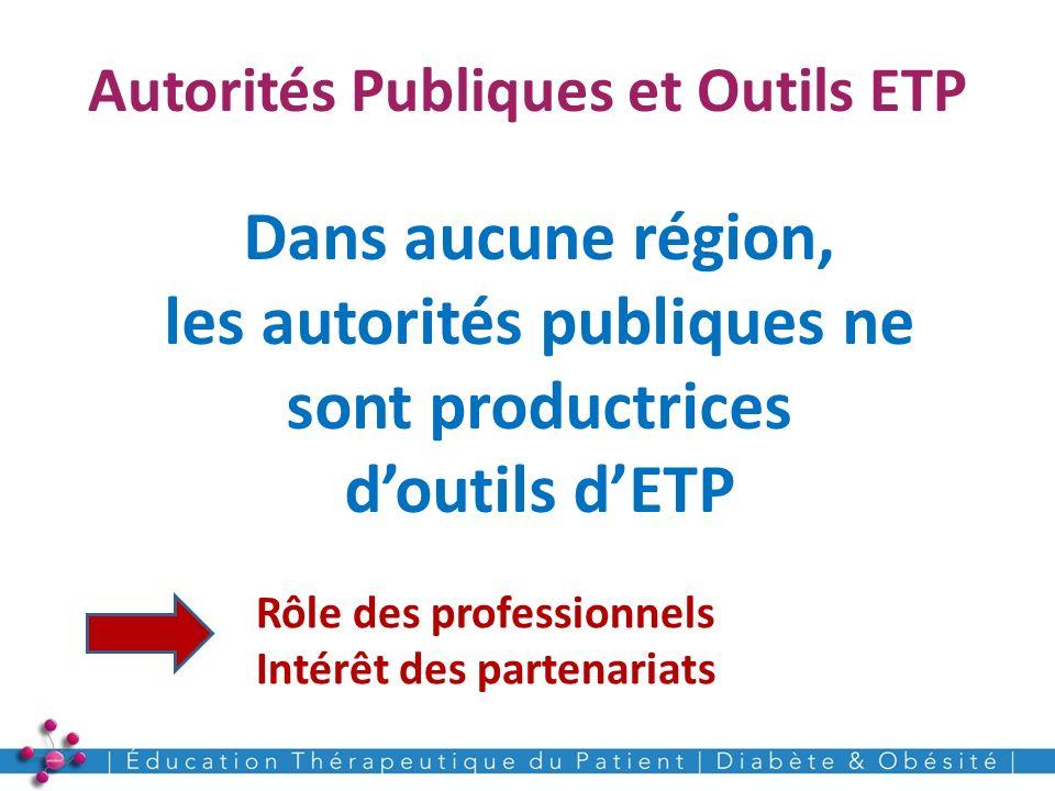 Autorités Publiques et Outils ETP 21 Dans aucune région, les autorités publiques ne sont productrices doutils dETP Rôle des professionnels Intérêt des