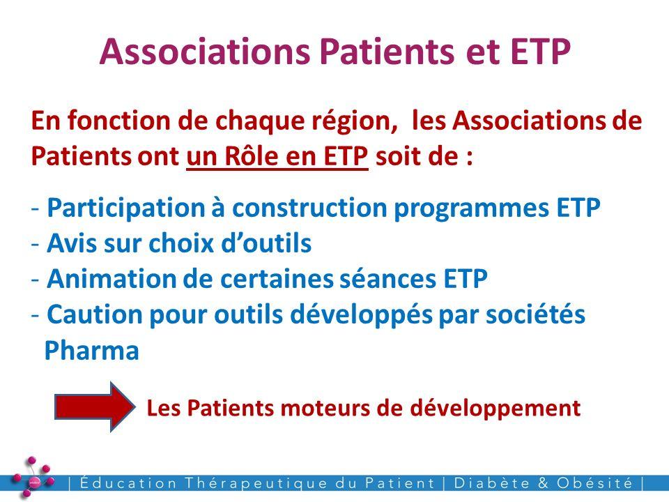 Associations Patients et ETP 22 En fonction de chaque région, les Associations de Patients ont un Rôle en ETP soit de : - Participation à construction