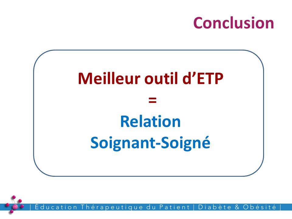 Conclusion 24 Meilleur outil dETP = Relation Soignant-Soigné