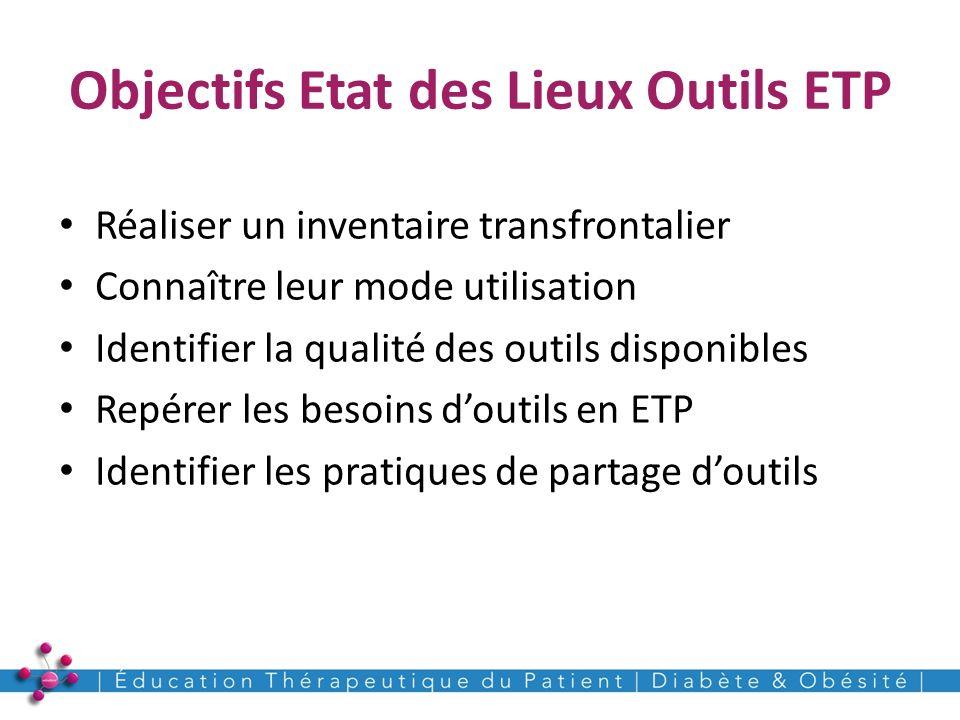 Objectifs Etat des Lieux Outils ETP Réaliser un inventaire transfrontalier Connaître leur mode utilisation Identifier la qualité des outils disponible