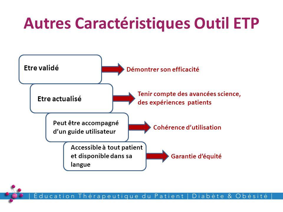 Autres Caractéristiques Outil ETP 9 Etre validé Peut être accompagné dun guide utilisateur Accessible à tout patient et disponible dans sa langue Démo