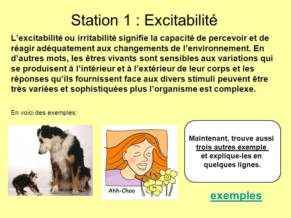 Station 1 : Excitabilité Lexcitabilité ou irritabilité signifie la capacité de percevoir et de réagir adéquatement aux changements de lenvironnement.