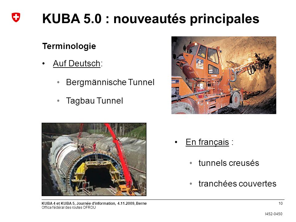 Office fédéral des routes OFROU I452-0450 KUBA 4 et KUBA 5, Journée d'information, 4.11.2009, Berne10 Auf Deutsch: Bergmännische Tunnel Tagbau Tunnel