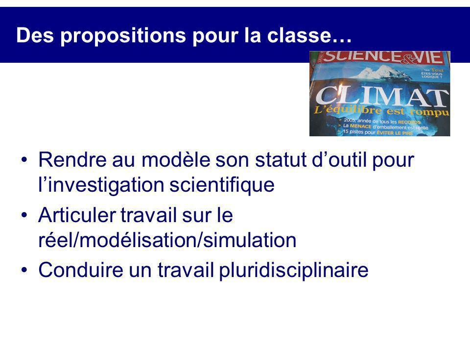 Des propositions pour la classe… Rendre au modèle son statut doutil pour linvestigation scientifique Articuler travail sur le réel/modélisation/simula