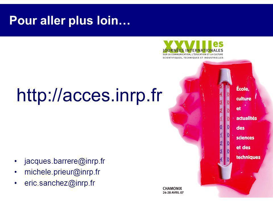 Pour aller plus loin… jacques.barrere@inrp.fr michele.prieur@inrp.fr eric.sanchez@inrp.fr http://acces.inrp.fr