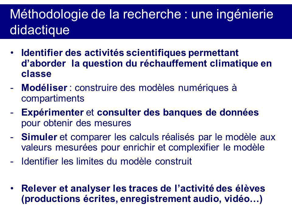 Méthodologie de la recherche : une ingénierie didactique Identifier des activités scientifiques permettant daborder la question du réchauffement clima