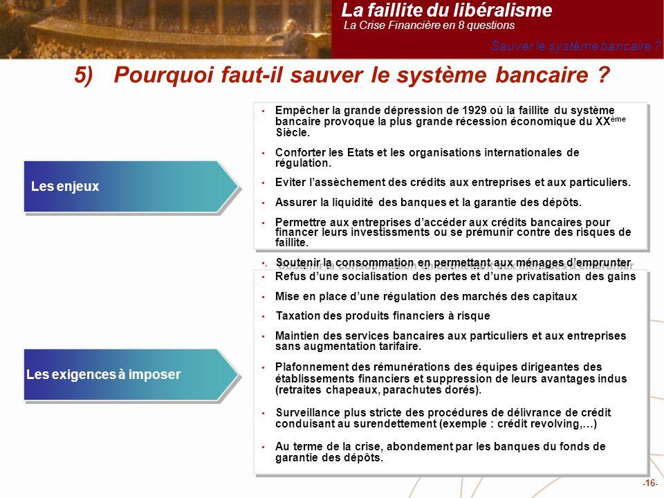 -16- 5) Pourquoi faut-il sauver le système bancaire .