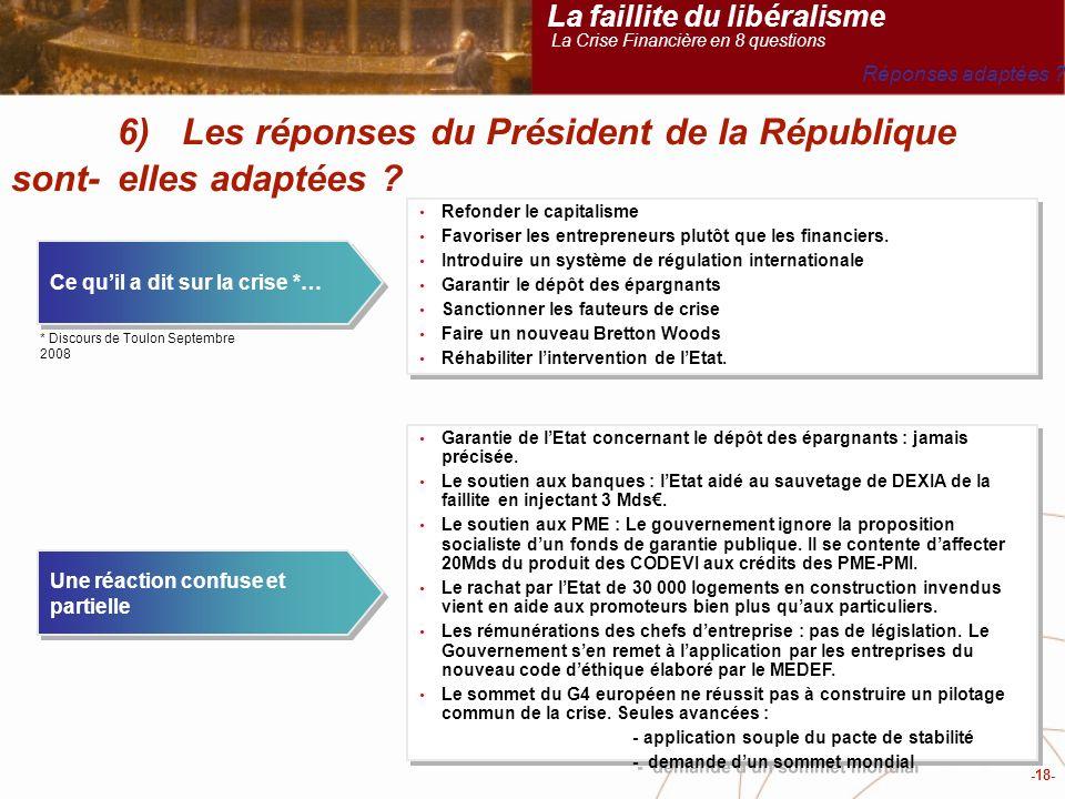 -18- 6) Les réponses du Président de la République sont-elles adaptées .