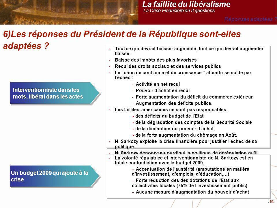 -19- 6)Les réponses du Président de la République sont-elles adaptées .