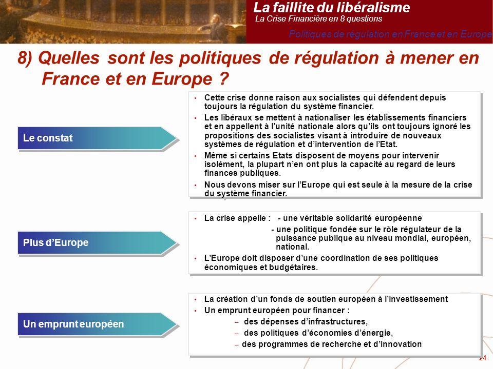 -24- 8) Quelles sont les politiques de régulation à mener en France et en Europe .