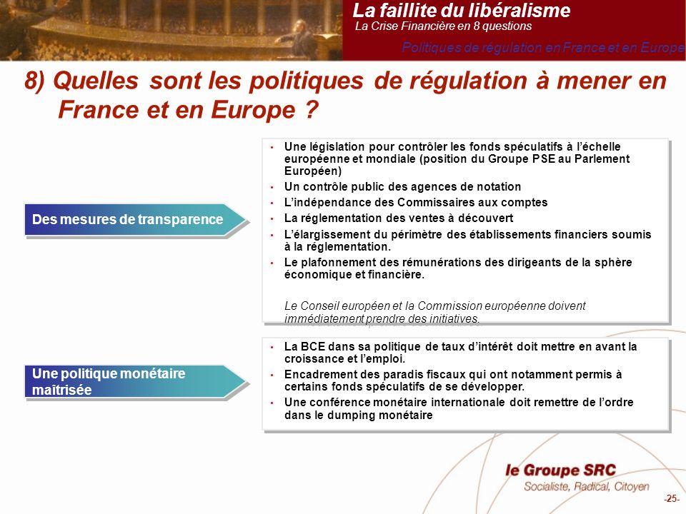 -25- 8) Quelles sont les politiques de régulation à mener en France et en Europe .