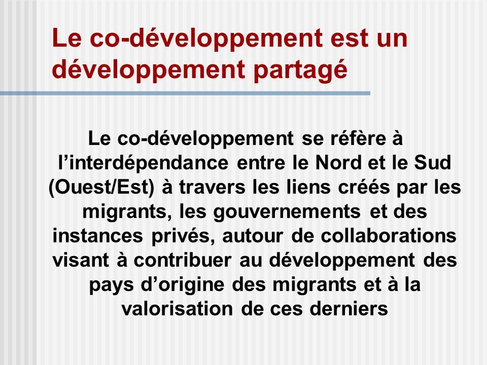 Le co-développement est un développement partagé Le co-développement se réfère à linterdépendance entre le Nord et le Sud (Ouest/Est) à travers les liens créés par les migrants, les gouvernements et des instances privés, autour de collaborations visant à contribuer au développement des pays dorigine des migrants et à la valorisation de ces derniers