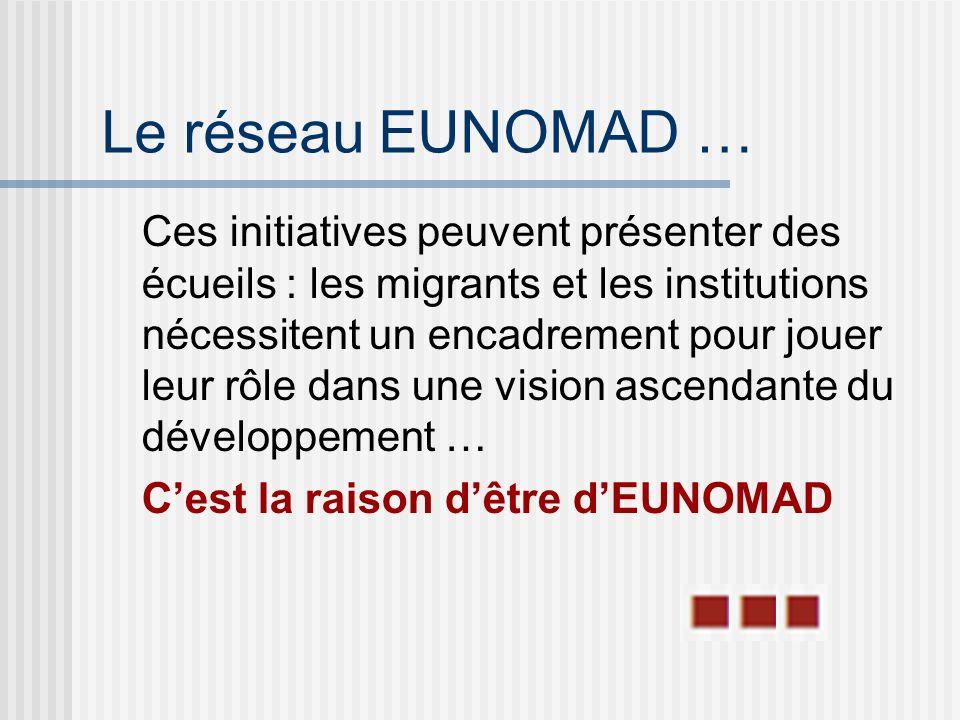 Le réseau EUNOMAD … Ces initiatives peuvent présenter des écueils : les migrants et les institutions nécessitent un encadrement pour jouer leur rôle dans une vision ascendante du développement … Cest la raison dêtre dEUNOMAD