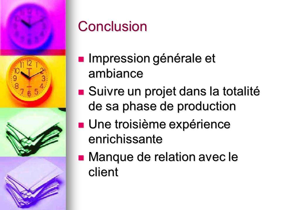 Conclusion Impression générale et ambiance Impression générale et ambiance Suivre un projet dans la totalité de sa phase de production Suivre un proje