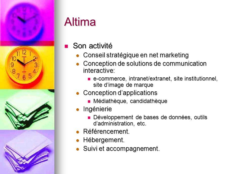 Altima Son activité Son activité Conseil stratégique en net marketing Conseil stratégique en net marketing Conception de solutions de communication in