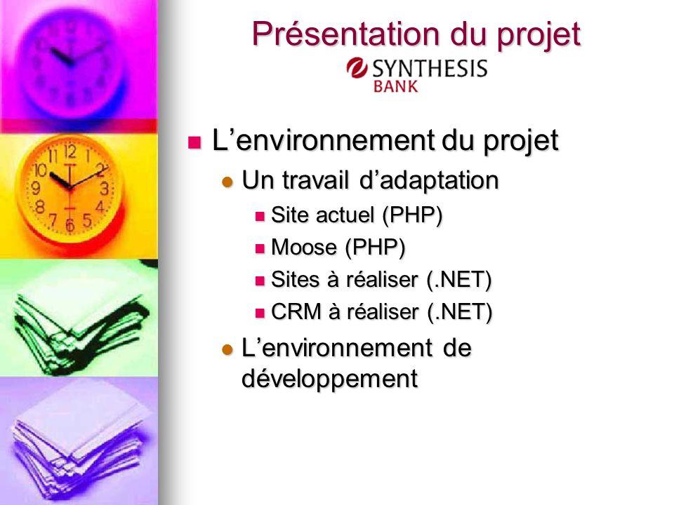 Lenvironnement du projet Lenvironnement du projet Un travail dadaptation Un travail dadaptation Site actuel (PHP) Site actuel (PHP) Moose (PHP) Moose (PHP) Sites à réaliser (.NET) Sites à réaliser (.NET) CRM à réaliser (.NET) CRM à réaliser (.NET) Lenvironnement de développement Lenvironnement de développement Présentation du projet