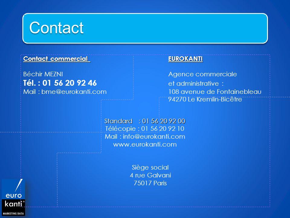 Contact commercial EUROKANTI Béchir MEZNIAgence commerciale Tél. : 01 56 20 92 46 et administrative : Mail : bme@eurokanti.com 108 avenue de Fontaineb