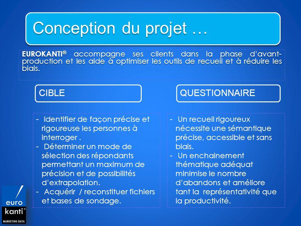 Conception du projet … EUROKANTI ® accompagne ses clients dans la phase davant- production et les aide à optimiser les outils de recueil et à réduire