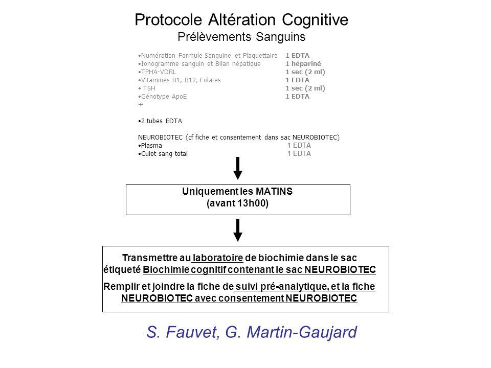 Protocole Altération Cognitive Prélèvements Sanguins Transmettre au laboratoire de biochimie dans le sac étiqueté Biochimie cognitif contenant le sac