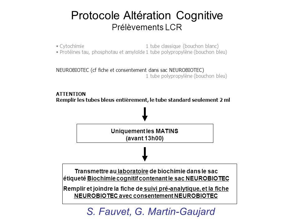 Protocole Altération Cognitive Prélèvements LCR Transmettre au laboratoire de biochimie dans le sac étiqueté Biochimie cognitif contenant le sac NEURO