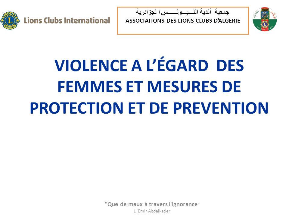 VIOLENCE A LÉGARD DES FEMMES ET MESURES DE PROTECTION ET DE PREVENTION
