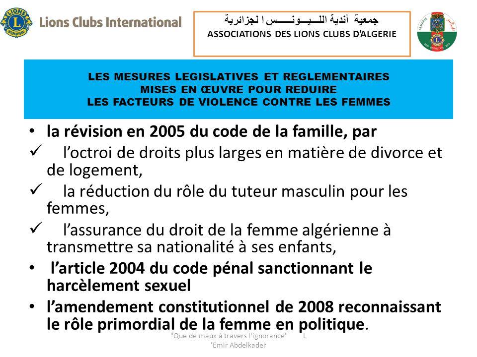 LES MESURES LEGISLATIVES ET REGLEMENTAIRES MISES EN ŒUVRE POUR REDUIRE LES FACTEURS DE VIOLENCE CONTRE LES FEMMES la révision en 2005 du code de la famille, par loctroi de droits plus larges en matière de divorce et de logement, la réduction du rôle du tuteur masculin pour les femmes, lassurance du droit de la femme algérienne à transmettre sa nationalité à ses enfants, larticle 2004 du code pénal sanctionnant le harcèlement sexuel lamendement constitutionnel de 2008 reconnaissant le rôle primordial de la femme en politique.