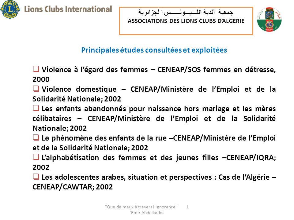 Principales études consultées et exploitées Violence à légard des femmes – CENEAP/SOS femmes en détresse, 2000 Violence domestique – CENEAP/Ministère