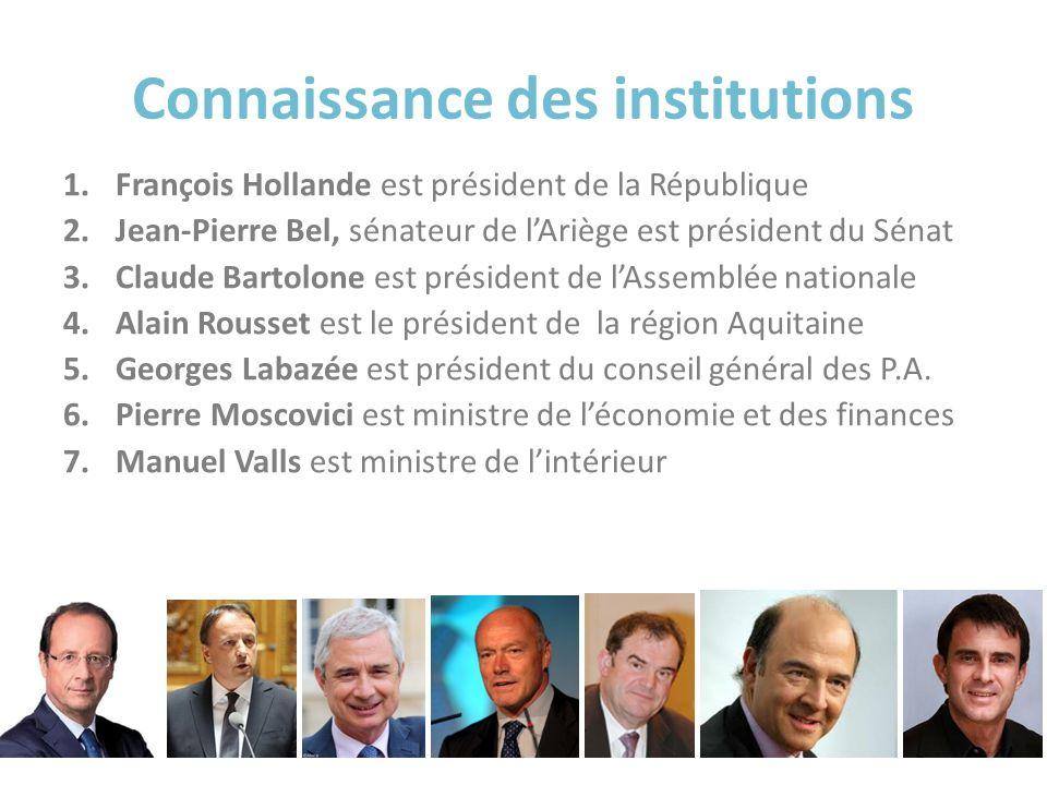 Connaissance des institutions 1.François Hollande est président de la République 2.Jean-Pierre Bel, sénateur de lAriège est président du Sénat 3.Claud