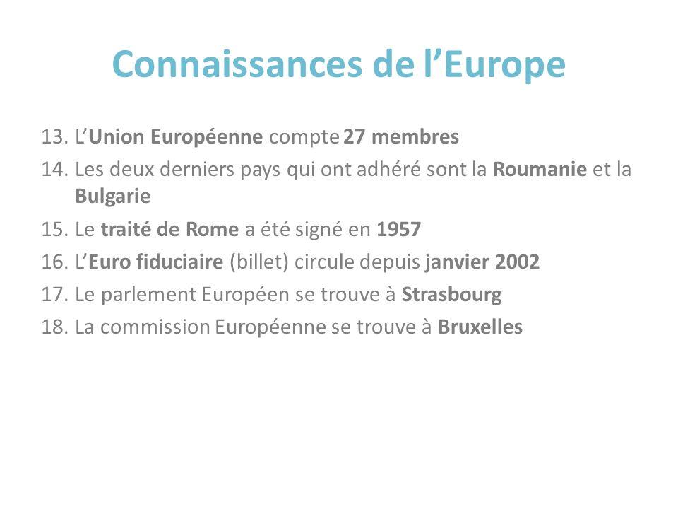 Connaissances de lEurope 13.LUnion Européenne compte 27 membres 14.Les deux derniers pays qui ont adhéré sont la Roumanie et la Bulgarie 15.Le traité