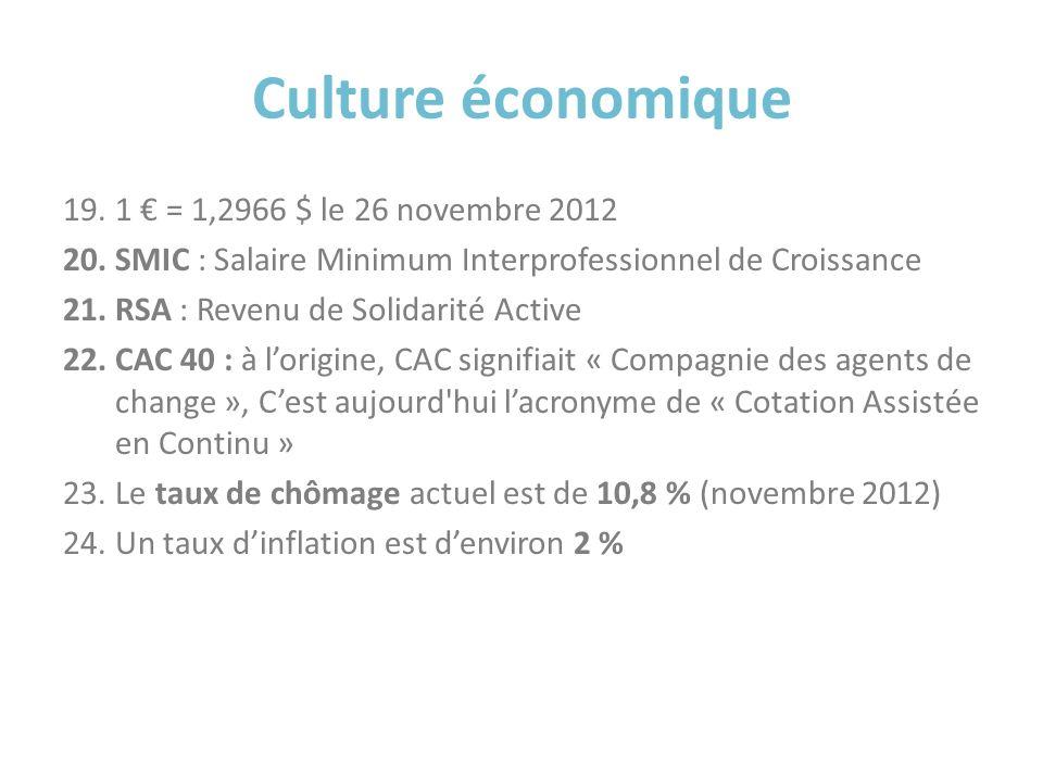 Culture économique 19.1 = 1,2966 $ le 26 novembre 2012 20.SMIC : Salaire Minimum Interprofessionnel de Croissance 21.RSA : Revenu de Solidarité Active