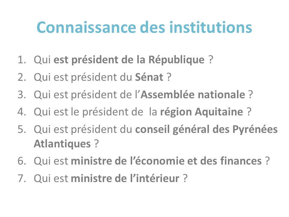 Connaissance des institutions 1.Qui est président de la République ? 2.Qui est président du Sénat ? 3.Qui est président de lAssemblée nationale ? 4.Qu
