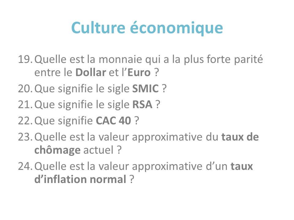 Culture économique 19.Quelle est la monnaie qui a la plus forte parité entre le Dollar et lEuro ? 20.Que signifie le sigle SMIC ? 21.Que signifie le s