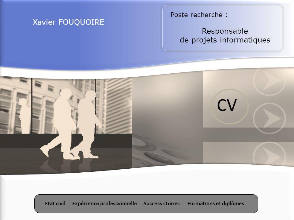Etat civilExpérience professionnelleSuccess storiesFormations et diplômes Xavier FOUQUOIRE Poste recherché : Responsable de projets informatiques Etat